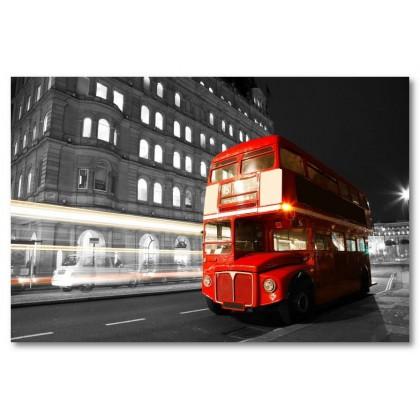 Αφίσα (Λονδίνο, λεωφορείο, κόκκινος, δρόμος)